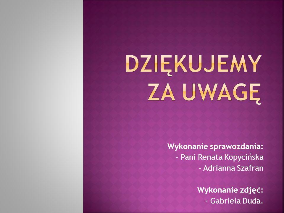 Dziękujemy za uwagę Wykonanie sprawozdania: - Pani Renata Kopycińska