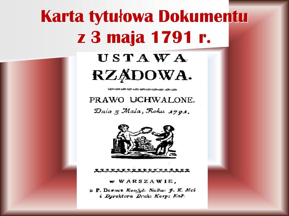 Karta tytułowa Dokumentu z 3 maja 1791 r.