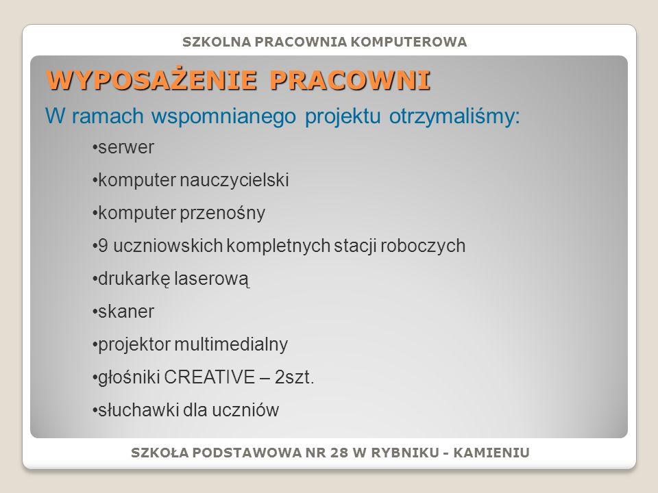 WYPOSAŻENIE PRACOWNI W ramach wspomnianego projektu otrzymaliśmy: