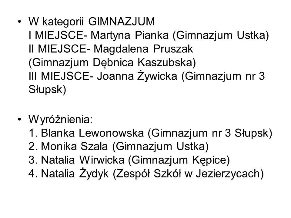 W kategorii GIMNAZJUM I MIEJSCE- Martyna Pianka (Gimnazjum Ustka) II MIEJSCE- Magdalena Pruszak (Gimnazjum Dębnica Kaszubska) III MIEJSCE- Joanna Żywicka (Gimnazjum nr 3 Słupsk)