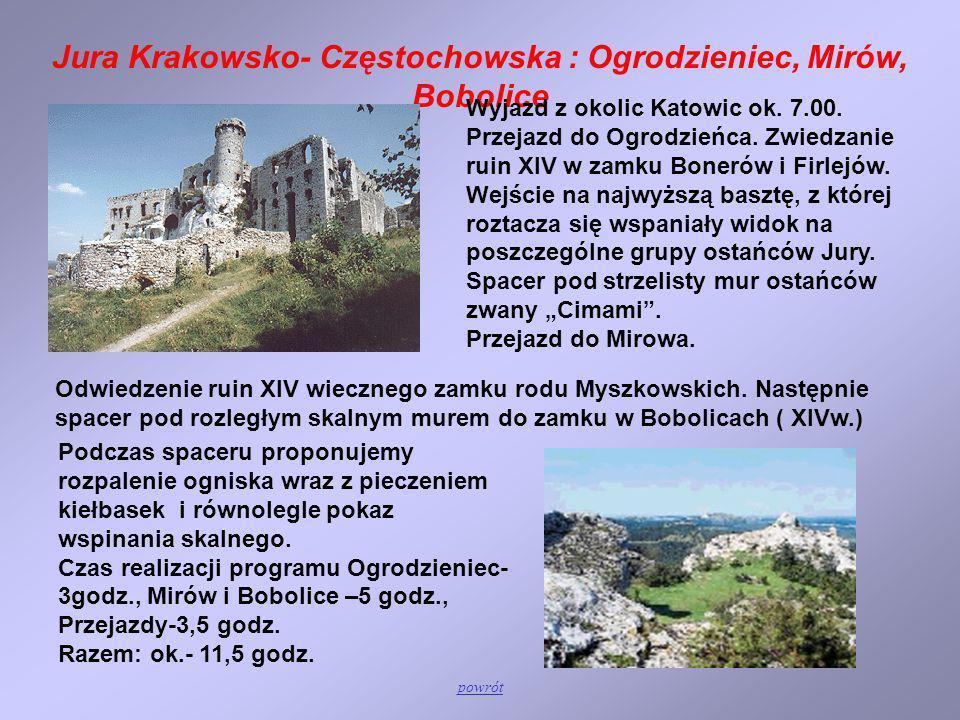 Jura Krakowsko- Częstochowska : Ogrodzieniec, Mirów, Bobolice