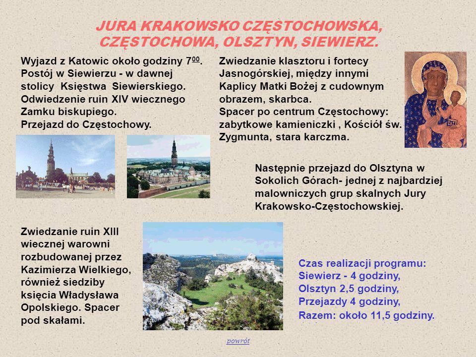 JURA KRAKOWSKO CZĘSTOCHOWSKA, CZĘSTOCHOWA, OLSZTYN, SIEWIERZ.