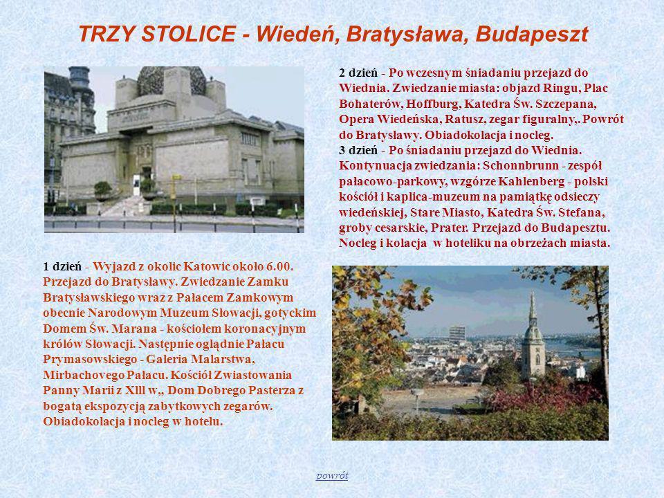 TRZY STOLICE - Wiedeń, Bratysława, Budapeszt