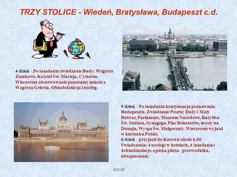 TRZY STOLICE - Wiedeń, Bratysława, Budapeszt c.d.