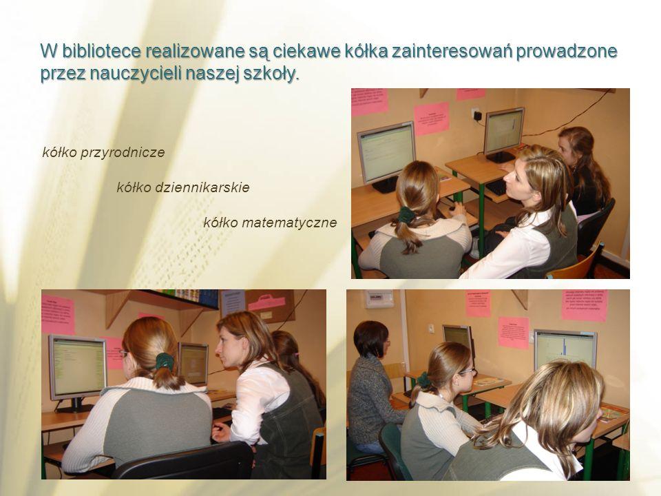 W bibliotece realizowane są ciekawe kółka zainteresowań prowadzone przez nauczycieli naszej szkoły.