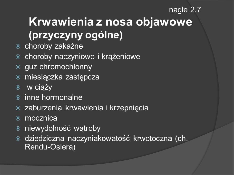 nagłe 2.7 Krwawienia z nosa objawowe (przyczyny ogólne)
