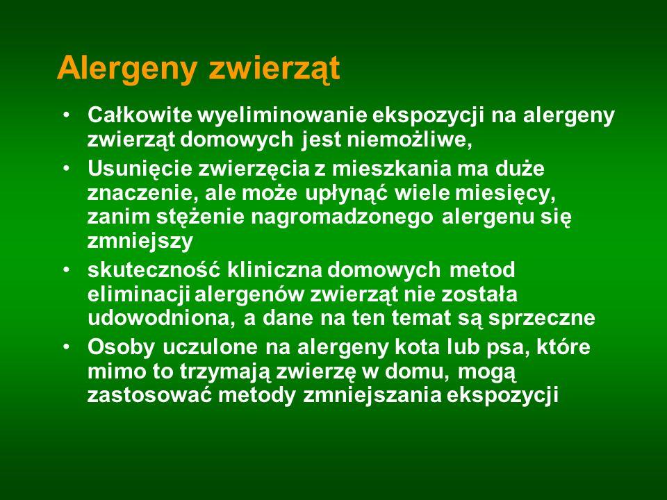 Alergeny zwierząt Całkowite wyeliminowanie ekspozycji na alergeny zwierząt domowych jest niemożliwe,