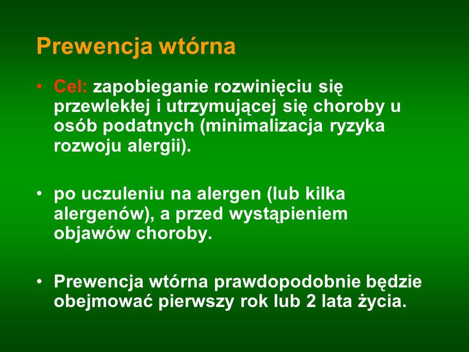 Prewencja wtórna Cel: zapobieganie rozwinięciu się przewlekłej i utrzymującej się choroby u osób podatnych (minimalizacja ryzyka rozwoju alergii).