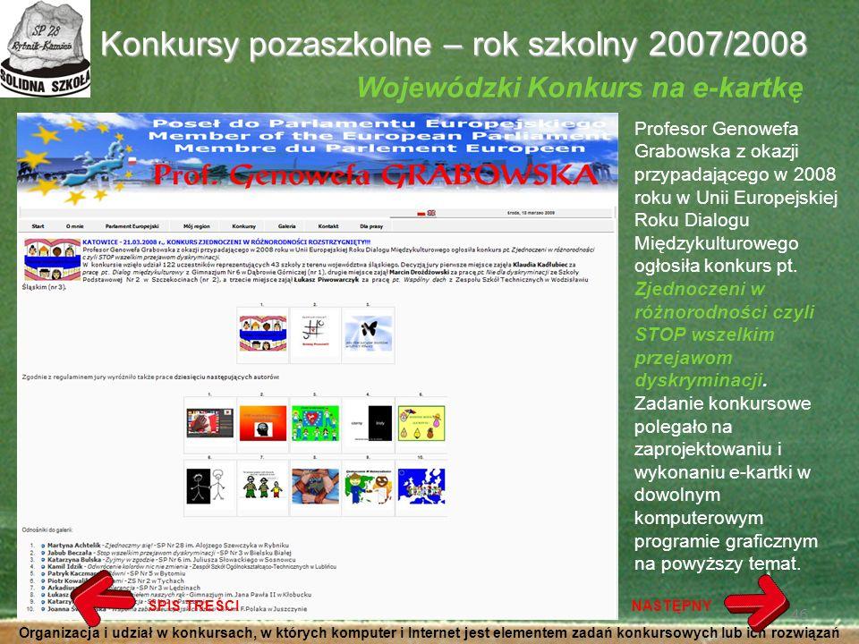 Konkursy pozaszkolne – rok szkolny 2007/2008