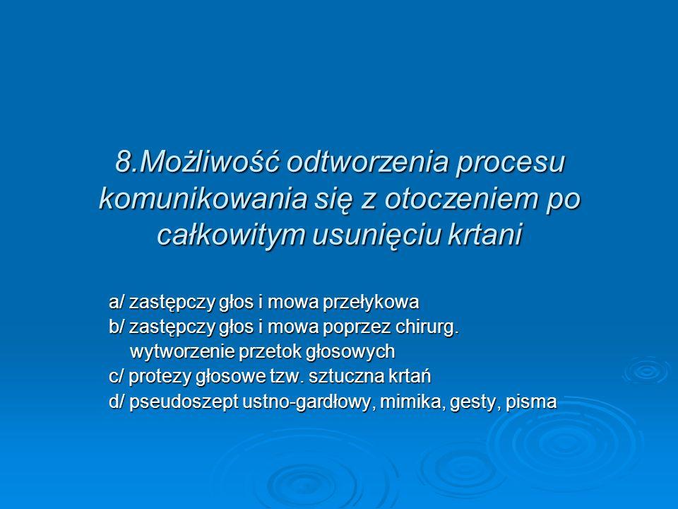8.Możliwość odtworzenia procesu komunikowania się z otoczeniem po całkowitym usunięciu krtani
