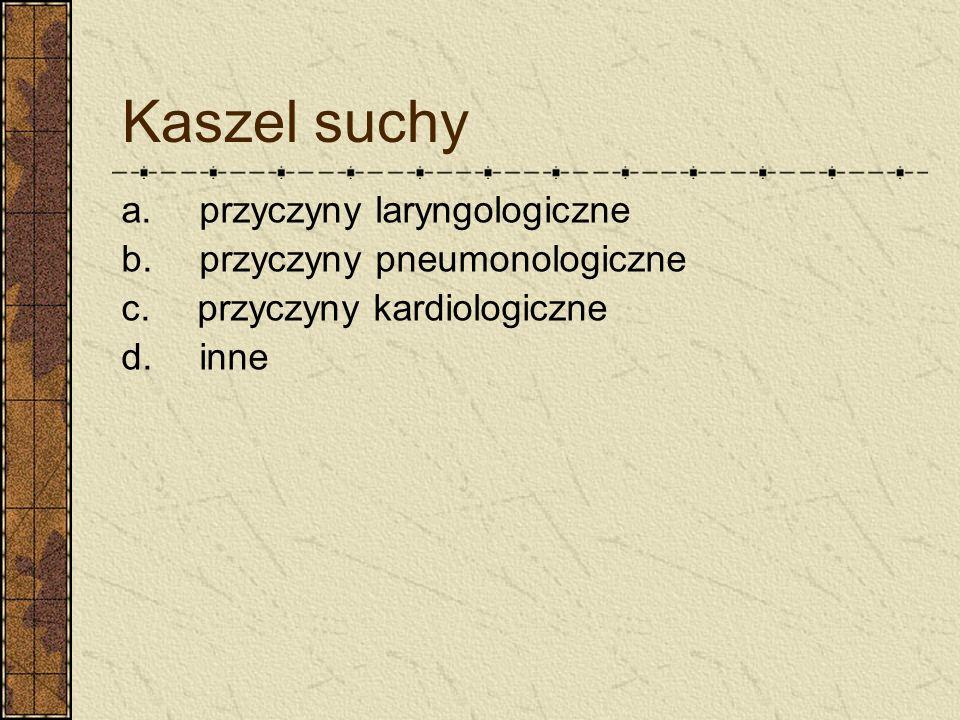 Kaszel suchy a. przyczyny laryngologiczne