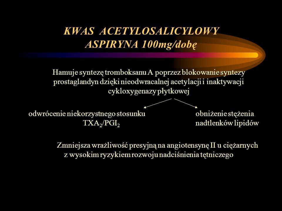 KWAS ACETYLOSALICYLOWY ASPIRYNA 100mg/dobę