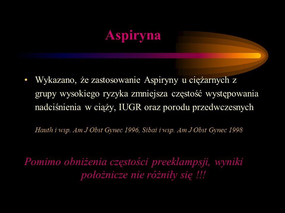 Aspiryna Pomimo obniżenia częstości preeklampsji, wyniki