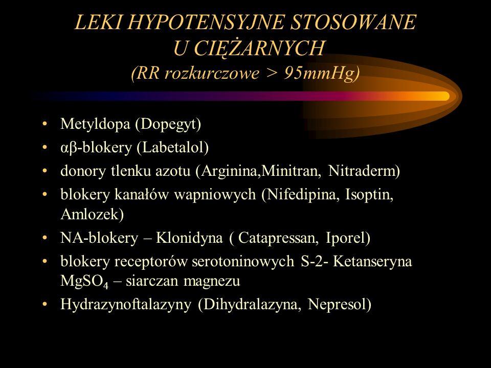 LEKI HYPOTENSYJNE STOSOWANE U CIĘŻARNYCH (RR rozkurczowe > 95mmHg)