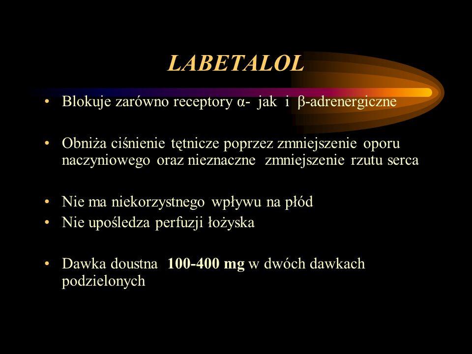 LABETALOL Blokuje zarówno receptory α- jak i β-adrenergiczne