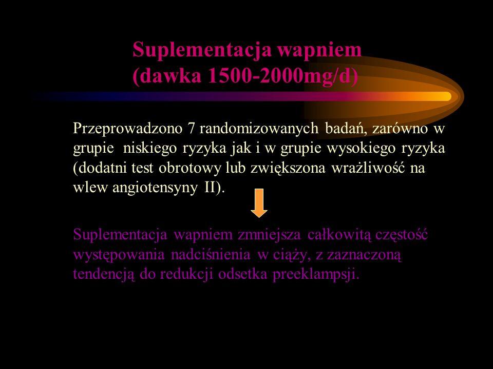 Suplementacja wapniem (dawka 1500-2000mg/d)