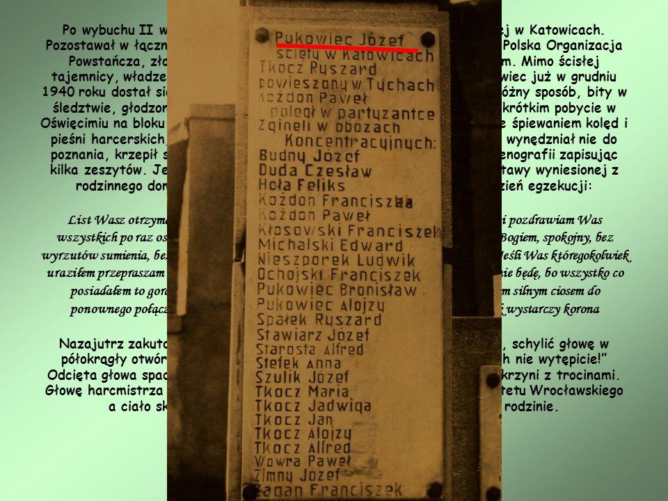 Po wybuchu II wojny światowej został komendantem Chorągwi Śląskiej w Katowicach.