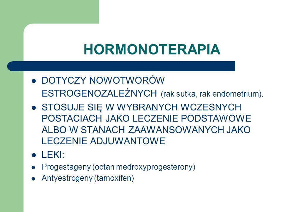 HORMONOTERAPIA DOTYCZY NOWOTWORÓW ESTROGENOZALEŻNYCH (rak sutka, rak endometrium).