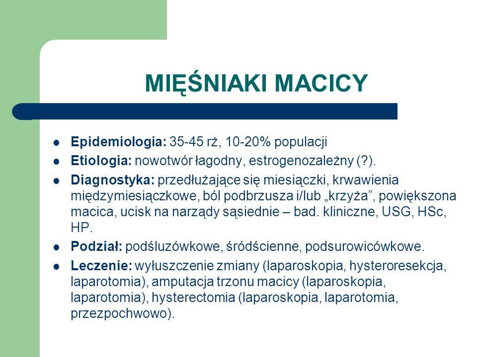 MIĘŚNIAKI MACICY Epidemiologia: 35-45 rż, 10-20% populacji