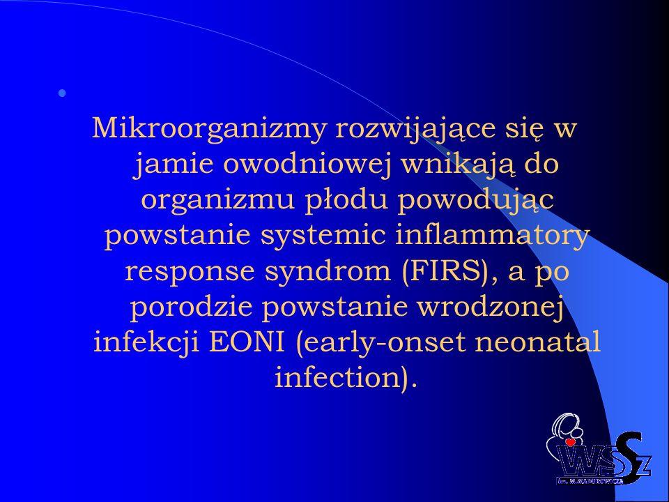 Mikroorganizmy rozwijające się w jamie owodniowej wnikają do organizmu płodu powodując powstanie systemic inflammatory response syndrom (FIRS), a po porodzie powstanie wrodzonej infekcji EONI (early-onset neonatal infection).