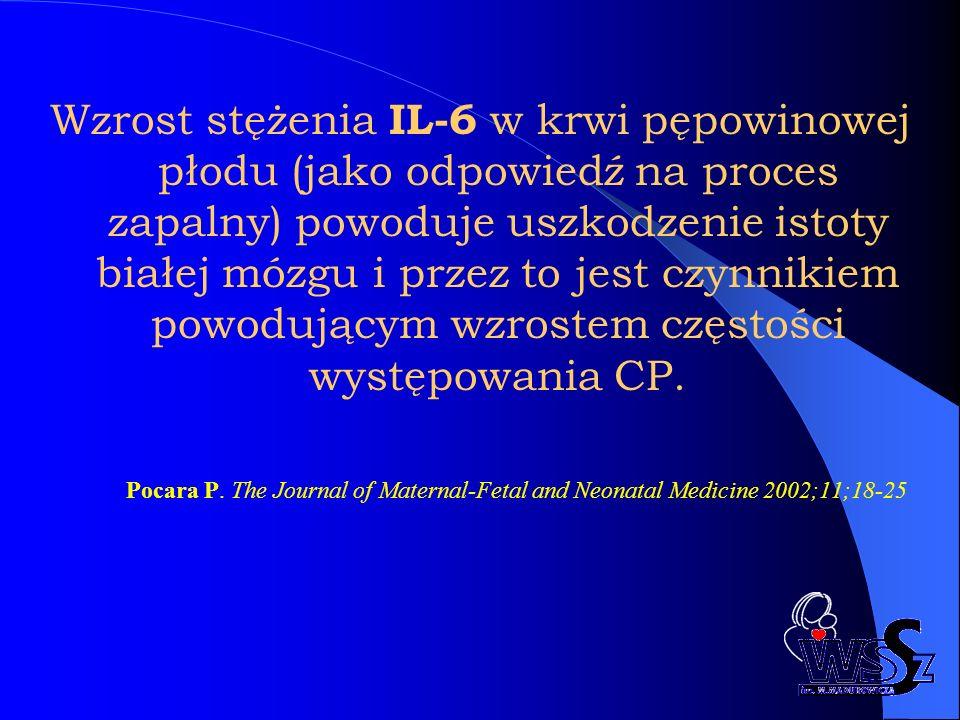 Wzrost stężenia IL-6 w krwi pępowinowej płodu (jako odpowiedź na proces zapalny) powoduje uszkodzenie istoty białej mózgu i przez to jest czynnikiem powodującym wzrostem częstości występowania CP.