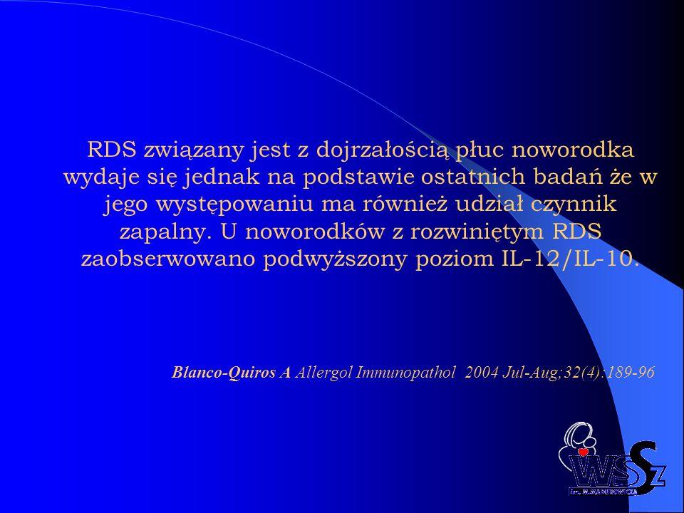 RDS związany jest z dojrzałością płuc noworodka wydaje się jednak na podstawie ostatnich badań że w jego występowaniu ma również udział czynnik zapalny. U noworodków z rozwiniętym RDS zaobserwowano podwyższony poziom IL-12/IL-10.