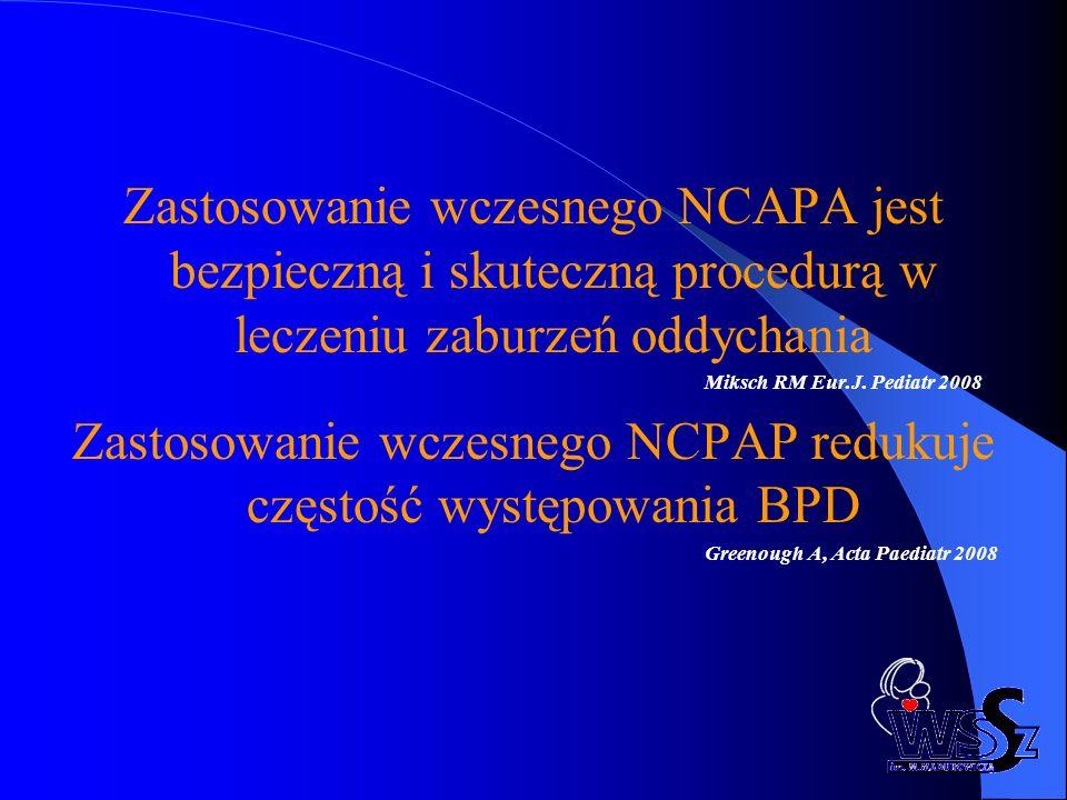 Zastosowanie wczesnego NCPAP redukuje częstość występowania BPD