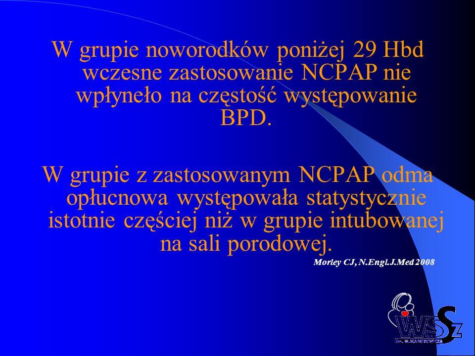 W grupie noworodków poniżej 29 Hbd wczesne zastosowanie NCPAP nie wpłyneło na częstość występowanie BPD.