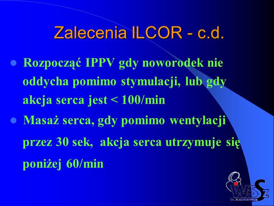 Zalecenia ILCOR - c.d. Rozpocząć IPPV gdy noworodek nie