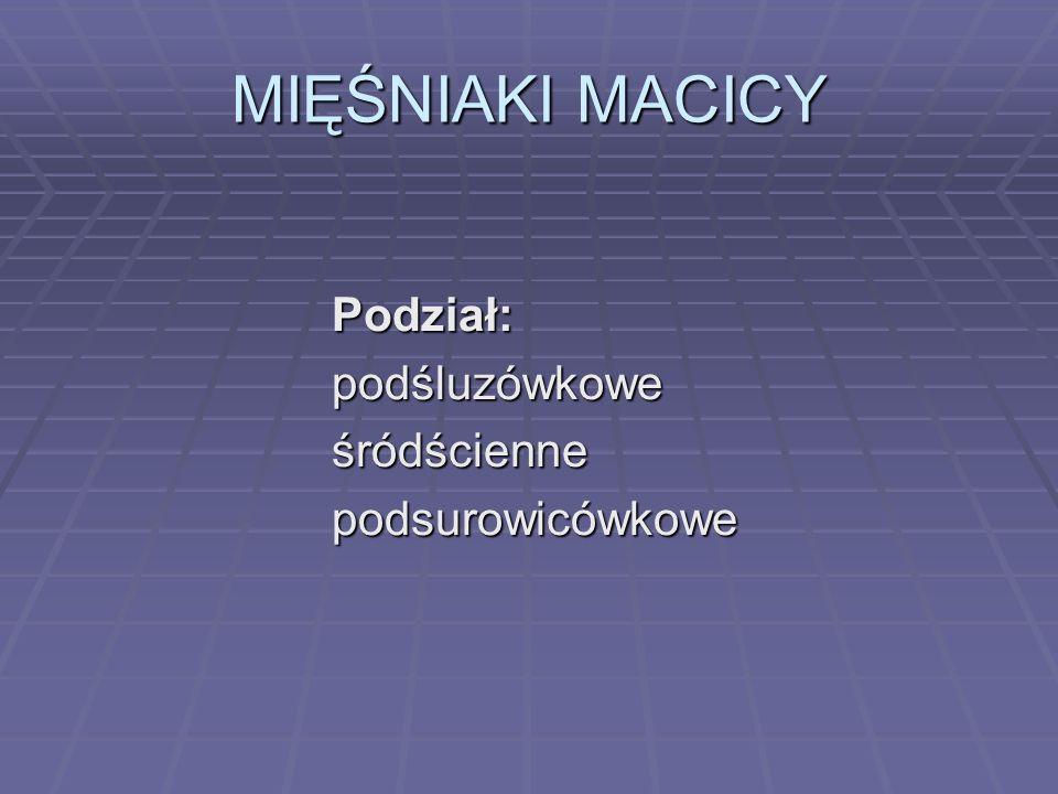 MIĘŚNIAKI MACICY Podział: podśluzówkowe śródścienne podsurowicówkowe