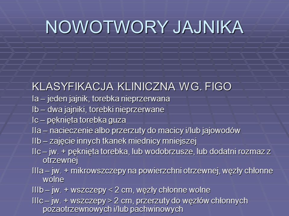 NOWOTWORY JAJNIKA KLASYFIKACJA KLINICZNA WG. FIGO