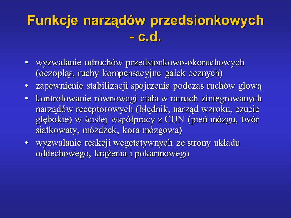 Funkcje narządów przedsionkowych - c.d.