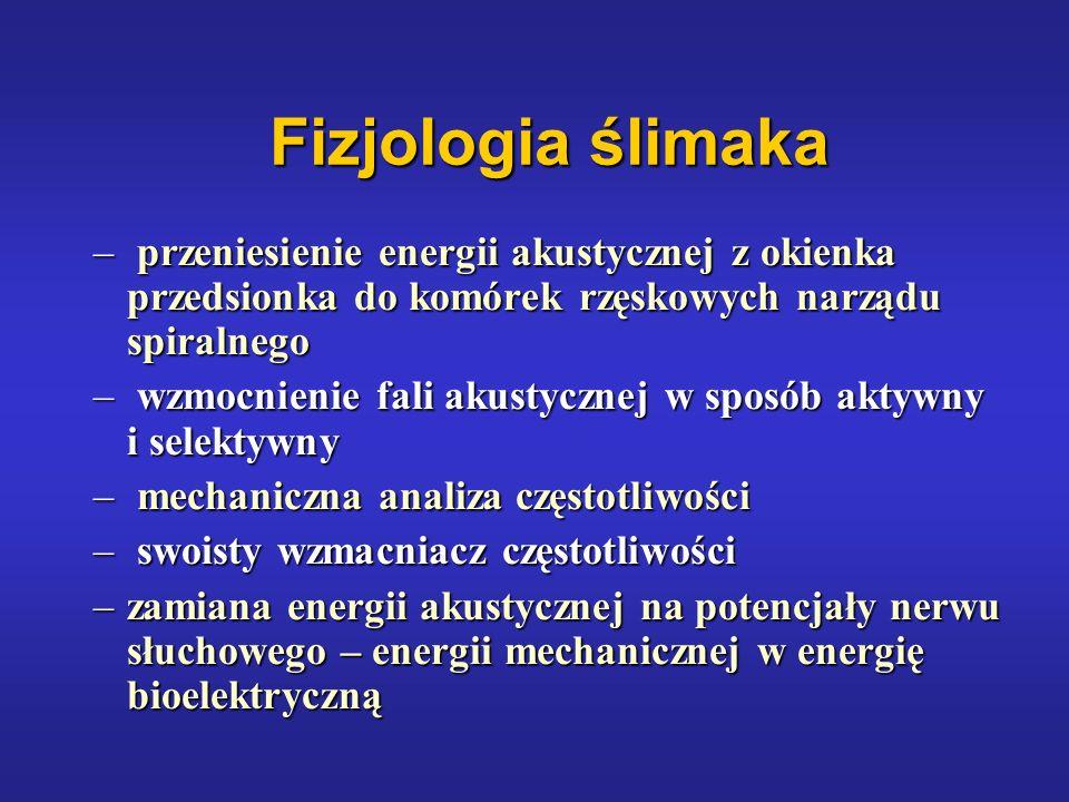 Fizjologia ślimaka przeniesienie energii akustycznej z okienka przedsionka do komórek rzęskowych narządu spiralnego.