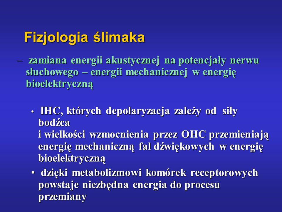 Fizjologia ślimaka zamiana energii akustycznej na potencjały nerwu słuchowego – energii mechanicznej w energię bioelektryczną.
