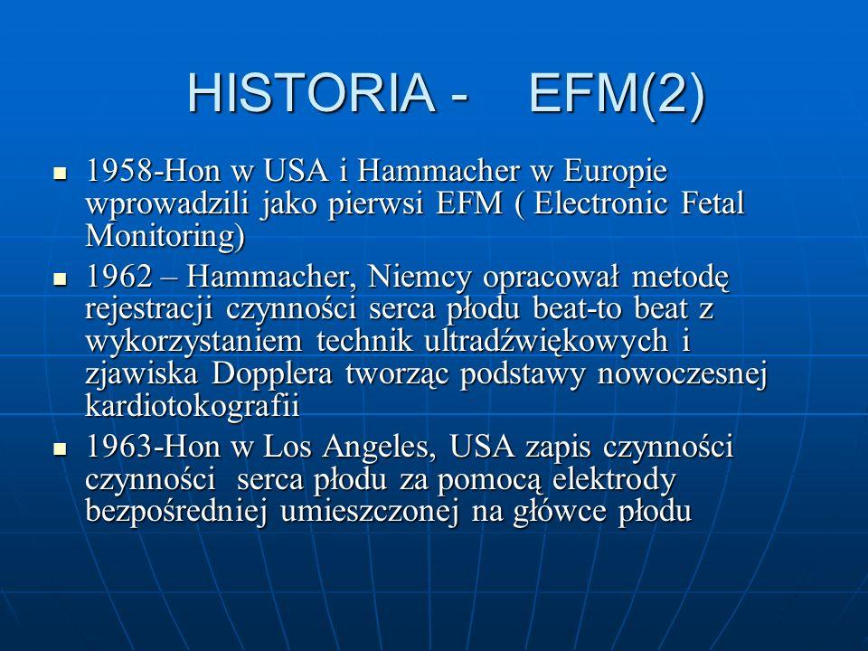 HISTORIA - EFM(2)1958-Hon w USA i Hammacher w Europie wprowadzili jako pierwsi EFM ( Electronic Fetal Monitoring)