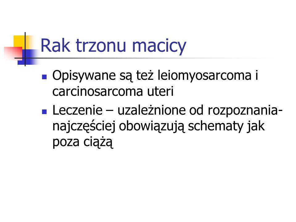 Rak trzonu macicy Opisywane są też leiomyosarcoma i carcinosarcoma uteri.