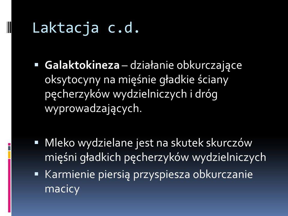 Laktacja c.d. Galaktokineza – działanie obkurczające oksytocyny na mięśnie gładkie ściany pęcherzyków wydzielniczych i dróg wyprowadzających.