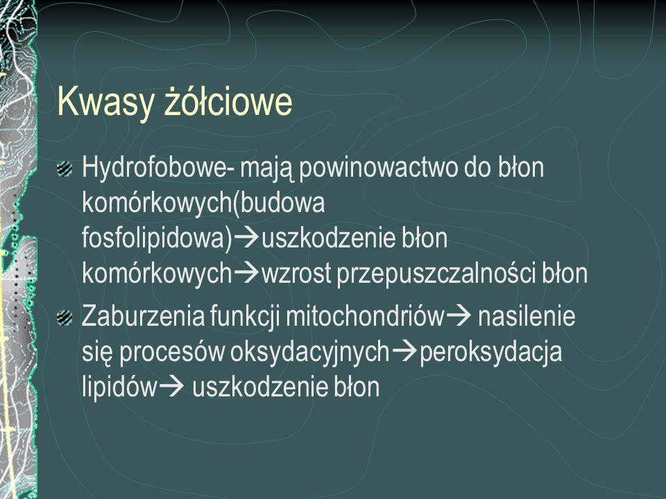 Kwasy żółciowe Hydrofobowe- mają powinowactwo do błon komórkowych(budowa fosfolipidowa)uszkodzenie błon komórkowychwzrost przepuszczalności błon.