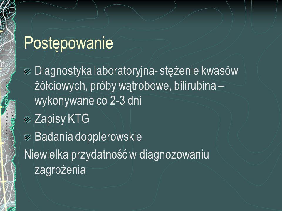 Postępowanie Diagnostyka laboratoryjna- stężenie kwasów żółciowych, próby wątrobowe, bilirubina –wykonywane co 2-3 dni.