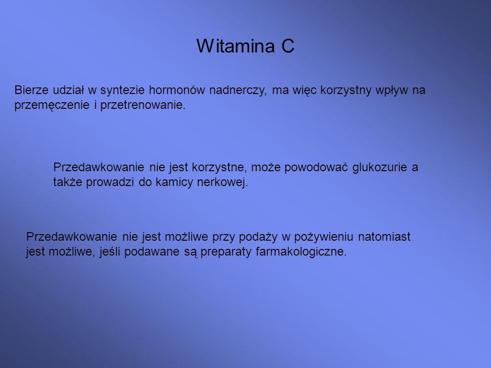 Witamina C Bierze udział w syntezie hormonów nadnerczy, ma więc korzystny wpływ na przemęczenie i przetrenowanie.