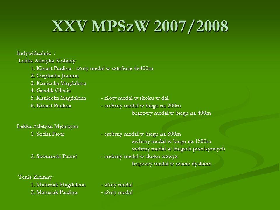 XXV MPSzW 2007/2008 Indywidualnie : Lekka Atletyka Kobiety
