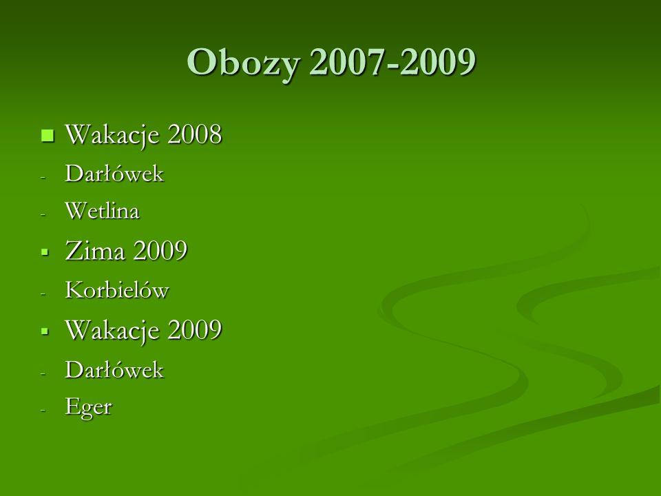 Obozy 2007-2009 Wakacje 2008 Zima 2009 Wakacje 2009 Darłówek Wetlina