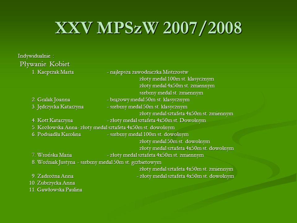 XXV MPSzW 2007/2008 Pływanie Kobiet Indywidualnie :