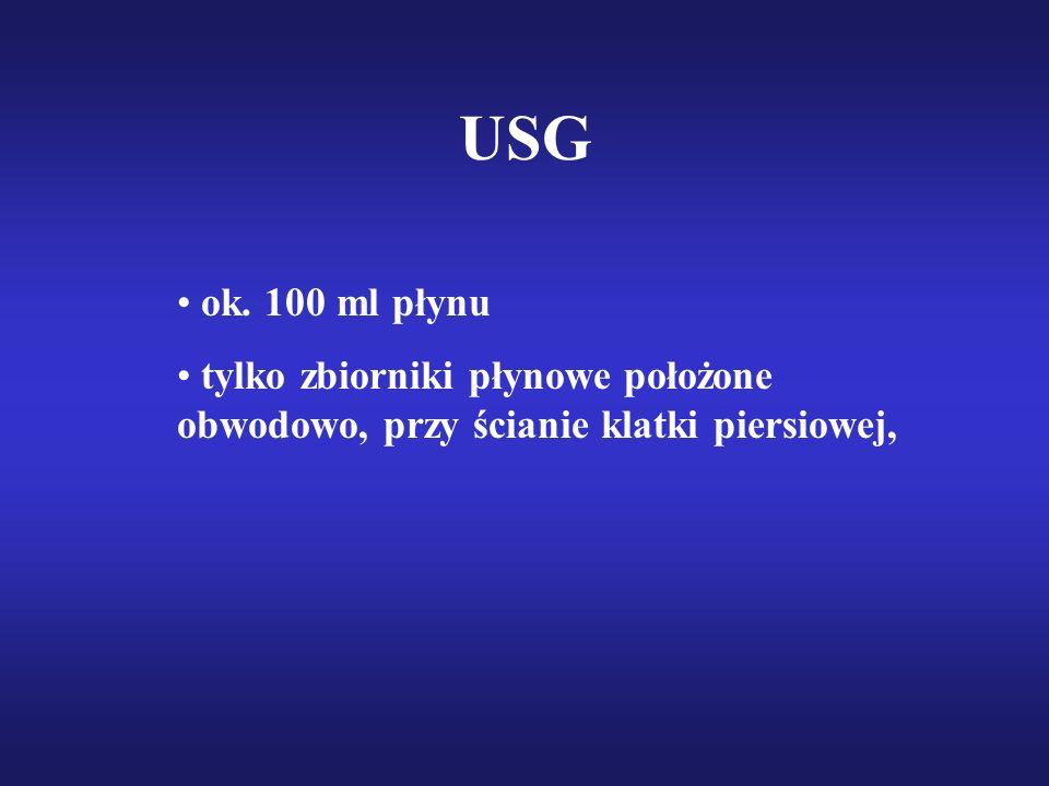 USG ok. 100 ml płynu tylko zbiorniki płynowe położone obwodowo, przy ścianie klatki piersiowej,