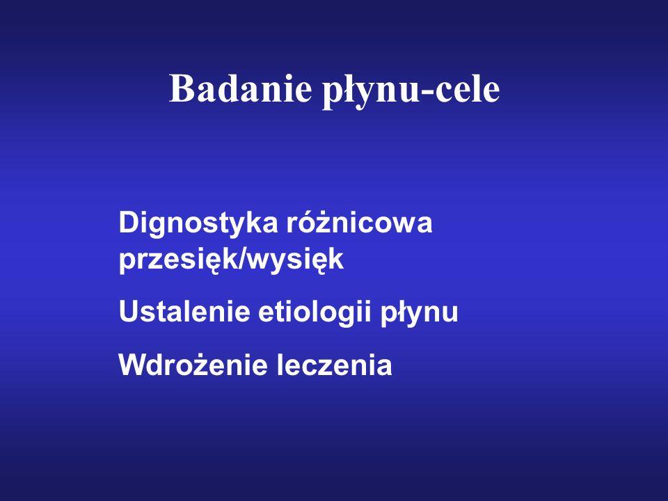 Badanie płynu-cele Dignostyka różnicowa przesięk/wysięk