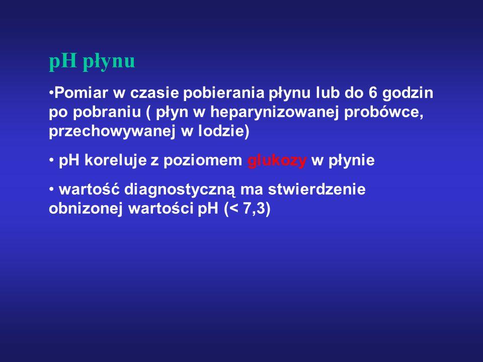 pH płynu Pomiar w czasie pobierania płynu lub do 6 godzin po pobraniu ( płyn w heparynizowanej probówce, przechowywanej w lodzie)