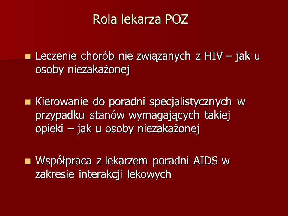 Rola lekarza POZ Leczenie chorób nie związanych z HIV – jak u osoby niezakażonej.