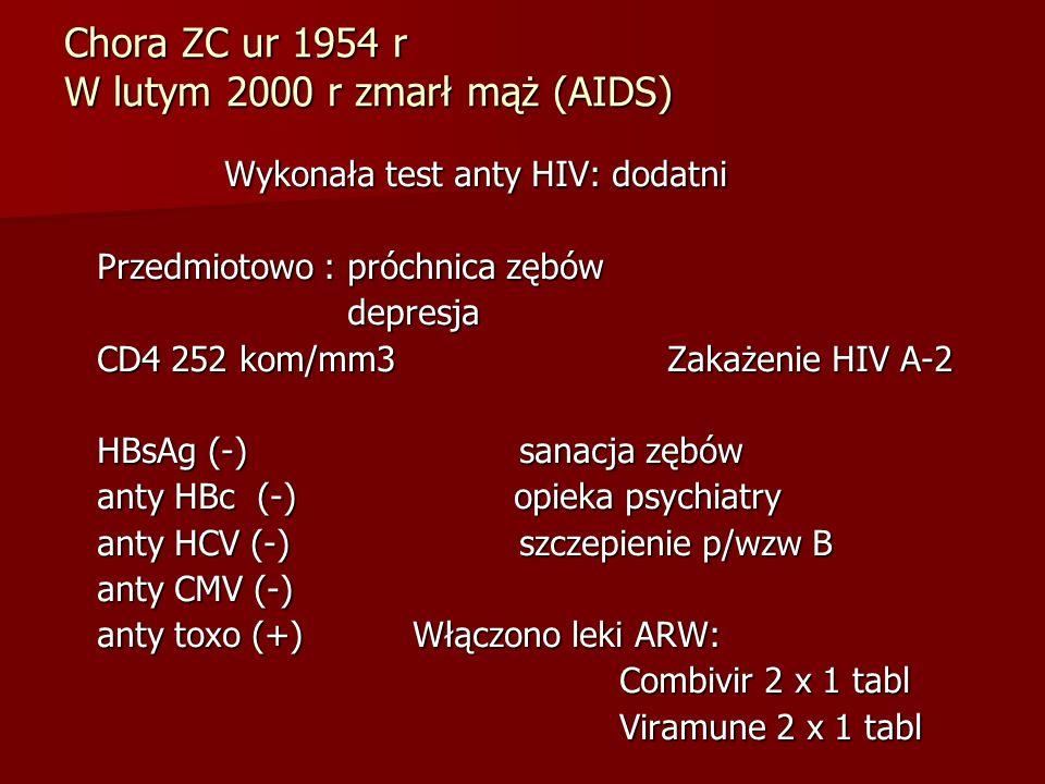Chora ZC ur 1954 r W lutym 2000 r zmarł mąż (AIDS)