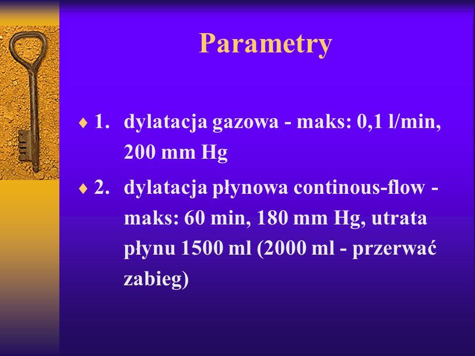 Parametry 1. dylatacja gazowa - maks: 0,1 l/min, 200 mm Hg