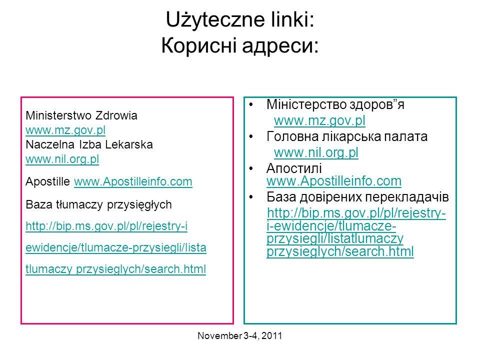 Użyteczne linki: Корисні адреси: